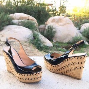 Valentino Patent Leather Espadrille Wedges Size 39